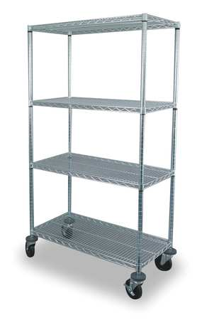 Wire Cart, 4 Shelf, 48x18x69, Zinc