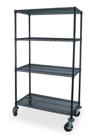 Wire Cart, 4 Shelf, 48x18x69, Black