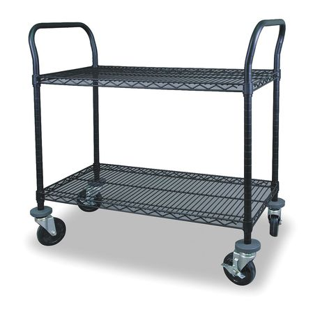 Wire Cart, 2 Shelf, 36x24x39, Black
