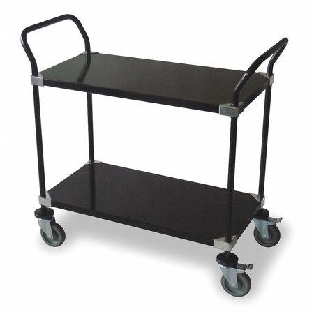 Utility Cart, Blk, 2 Solid Shelf, 36x18x39
