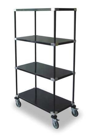 High Cart, HD, Blk, 4 Solid Shelf, 48x24x69