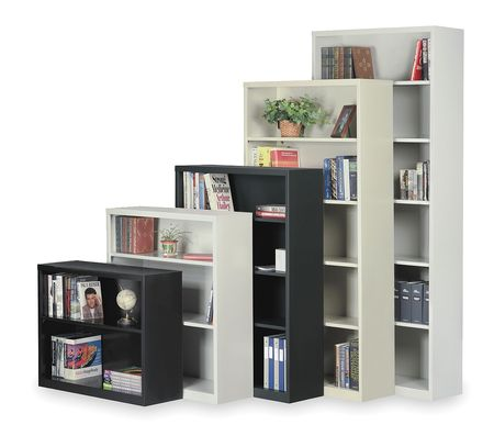 "6-Shelf Stationary Bookcase,  84""x34-1/2"" Putty"