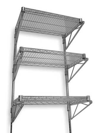 Wall Shelving, H 54, W 36, D 18, Chrome