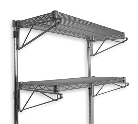 Wall Shelving, H 34, W 48, D 14, Chrome