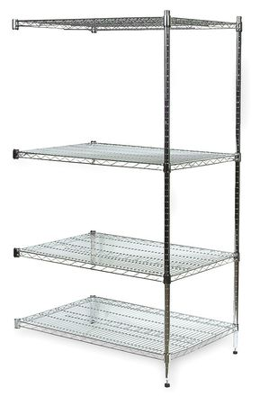 Shelving, Add-On, H 74, W 48, D 24, Chrome