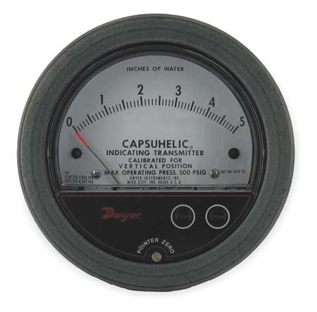 Pressure Gage/Transmitter, 0 to 5 In WC