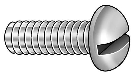 "#0-80 x 3/16"" Round Head Slotted Machine Screw,  100 pk."