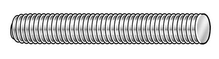 "9/16""-18 x 2' Zinc Plated Low Carbon Steel Threaded Rod,  1 pk."