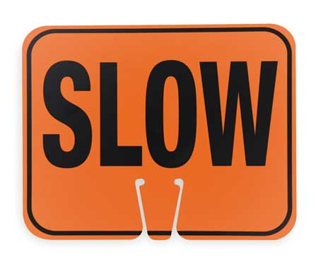 Traffic Cone Sign, Blk/Orng, Slow Traffic