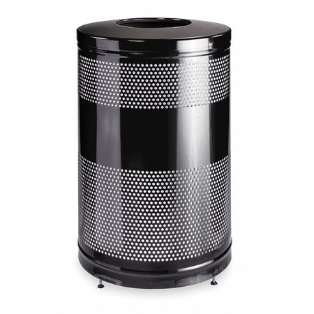 51 gal. Black Steel Round Trash Can
