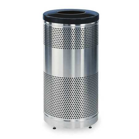 25 gal. Silver Stainless Steel Round Trash Can