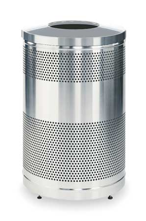 51 gal. Gray Stainless Steel Round Trash Can