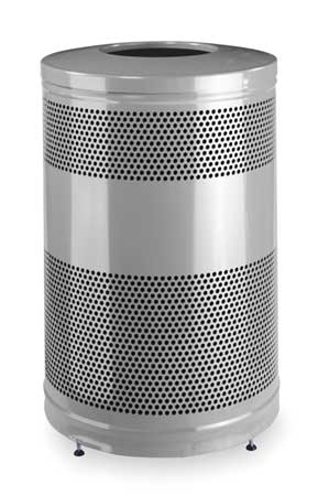 51 gal. Silver Steel Round Trash Can