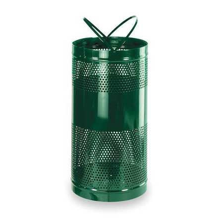 34 gal. Green Steel Round Trash Can