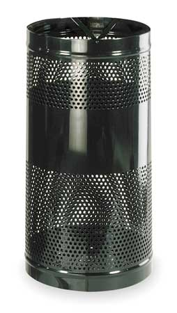 34 gal. Perforated Steel Round Trash Can,  Open Top,  Black