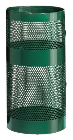 10 gal. Perforated Steel Round Trash Can,  Open Top,  Green