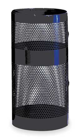 22 gal. Perforated Steel Round Trash Can,  Open Top,  Black