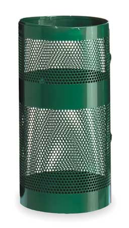 22 gal. Green Steel Round Trash Can