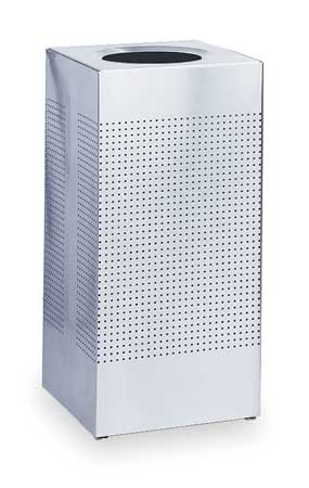 24 gal. Silver Stainless Steel Square Trash Can