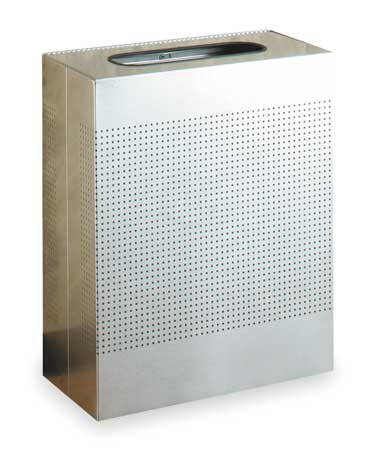 40 gal. Silver Stainless Steel Rectangular Trash Can