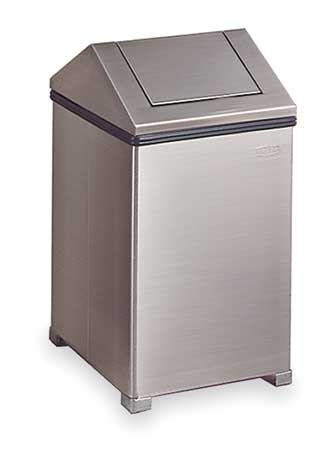 14 gal.  Square  Silver  Trash Can w/ Disposal Opening