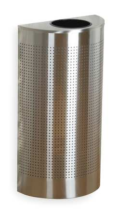 12 gal. Silver Stainless Steel Half-Round Trash Can