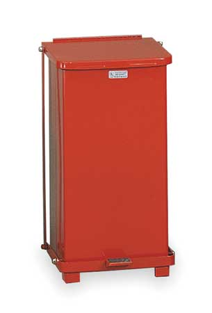12 gal. Red Steel Square Wastebasket