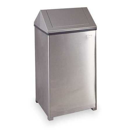 Trash Can, Square, 29 gal., Silver