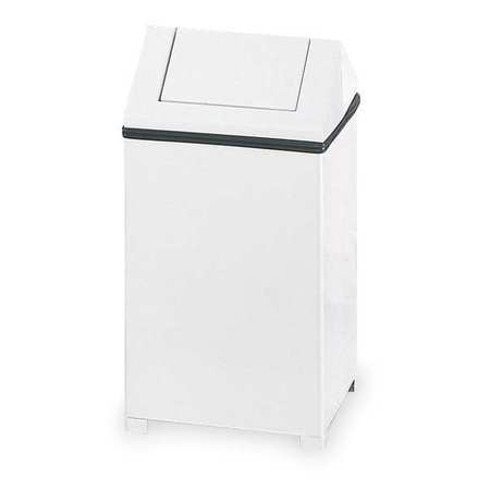 14 gal.  Square  White  Trash Can w/ Disposal Opening