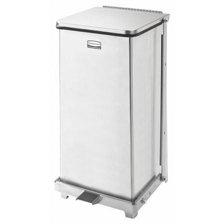 12 gal. Silver Square Stainless Steel Square Wastebasket