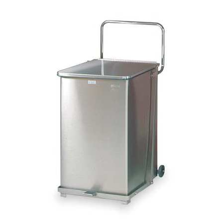 40 gal.  Square  Silver  Trash Can w/ Wheels