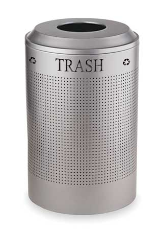 Trash Can, Round, 26 gal., Silver