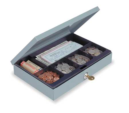 Cash Box, Gray, 11-1/4x7-1/2x2