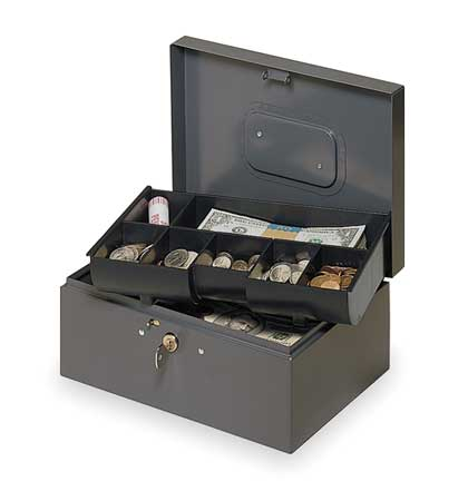 Cash Box, Gray, 10-1/4x7-1/4x4-3/8