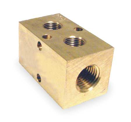 Manifold, Metal, Brass, NPT, 2-1/8 In. L