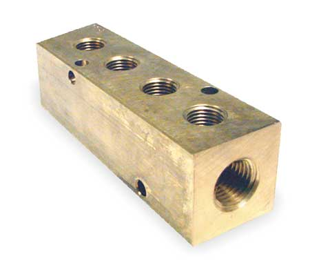Manifold, Metal, Brass, NPT, 3-7/8 In. L