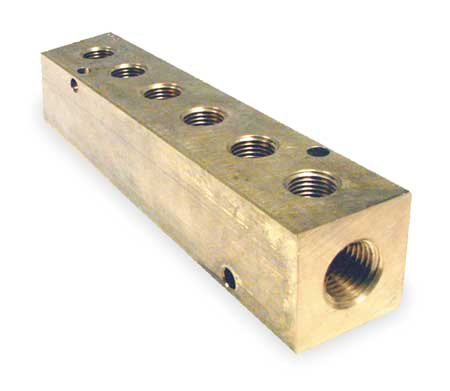 Manifold, Metal, Brass, NPT, 5-5/8 In. L