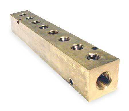 Manifold, Metal, Brass, NPT, 7-3/8 In. L