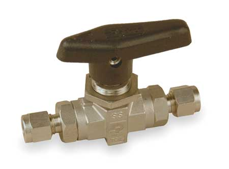 "1/4"" Compr Stainless Steel Mini Ball Valve Inline"