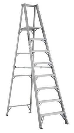 "Platform Stepladder, 7 ft 7"", Alum., 375 lb"