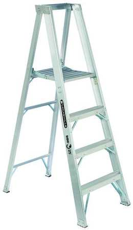 "Platform Stepladder, 3 ft 10"", Alum., 375lb"