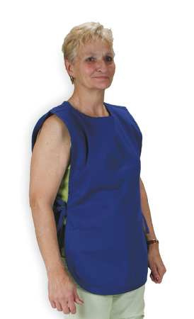 Bib Apron, Blue, 36In. L, Polyester