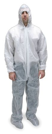 Hooded Polypropylene, White, Boots, L, PK25
