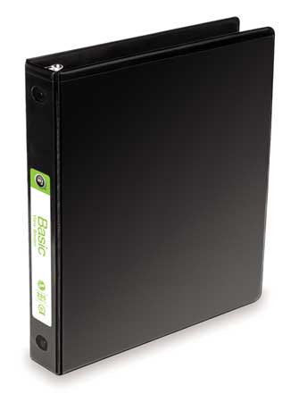 "1/2"" Round Ring Basic Binder,  Black"