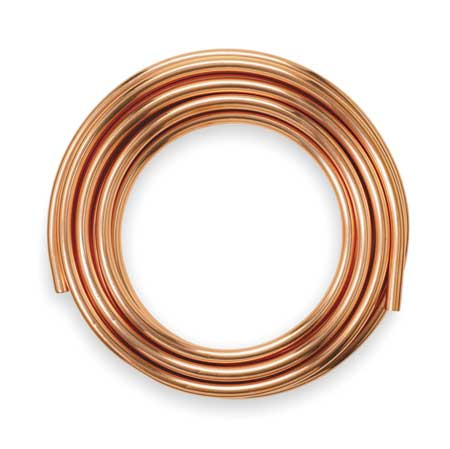Mueller industries 5 8 od x 20 ft coil copper tubing for Copper water pipe fittings types