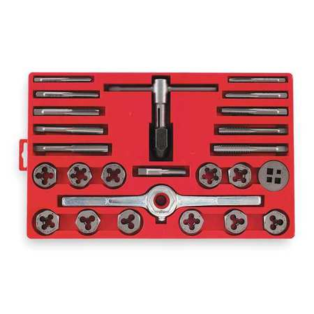 Tap and Die Set, 5/16 to 1/2 In, 25 pc
