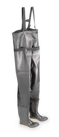 Chest Waders, Stl Toe, Mens, 12, Blk/Tan, PR
