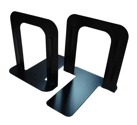 Reinforced Bookend, Steel, Black, PK2