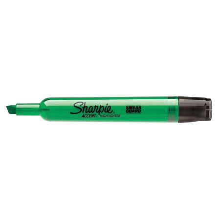Smear Guard Highlighter,  Chisel Tip Fluorescent Green PK12