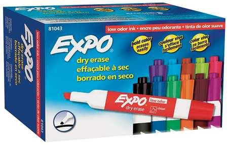Dry Erase Marker Set,  Chisel Tip,  Assorted Colors PK12 Low Odor